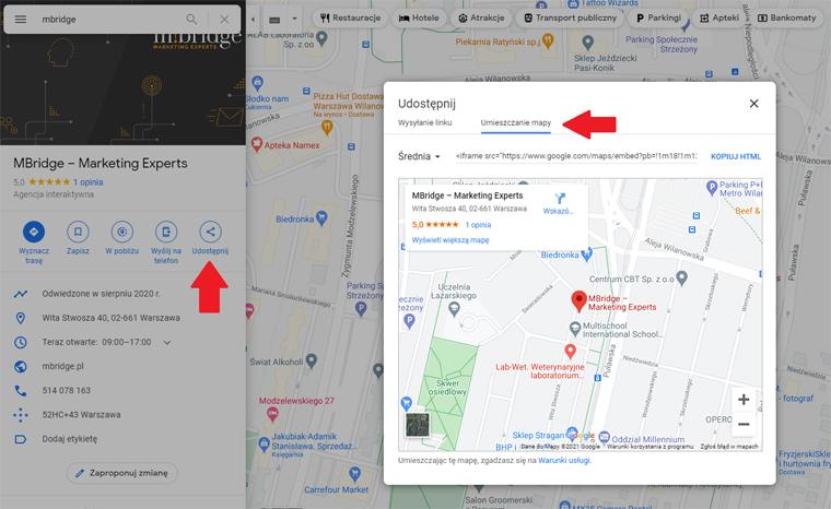 umieszczanie mapy google