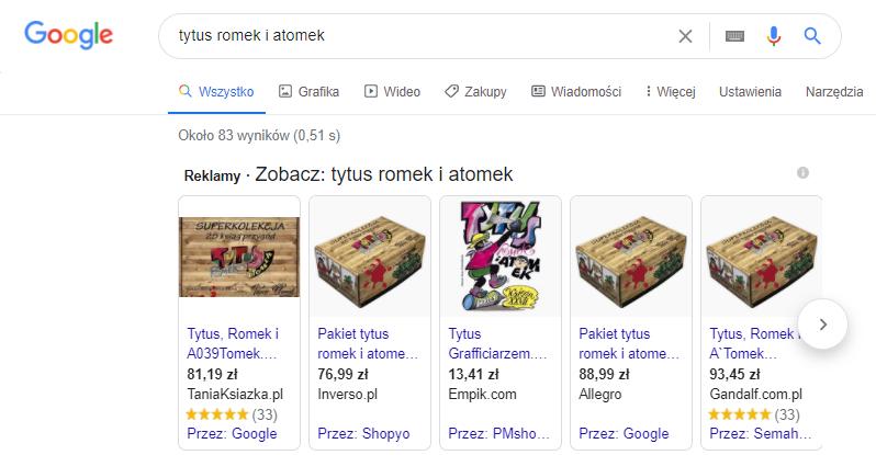 Google Shopping przykład tego co to jest