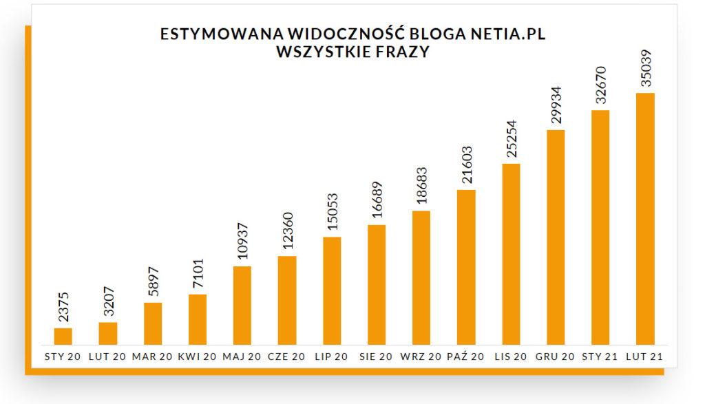 Estymowana widoczność na frazy ogółem na blogu Netii – wykres