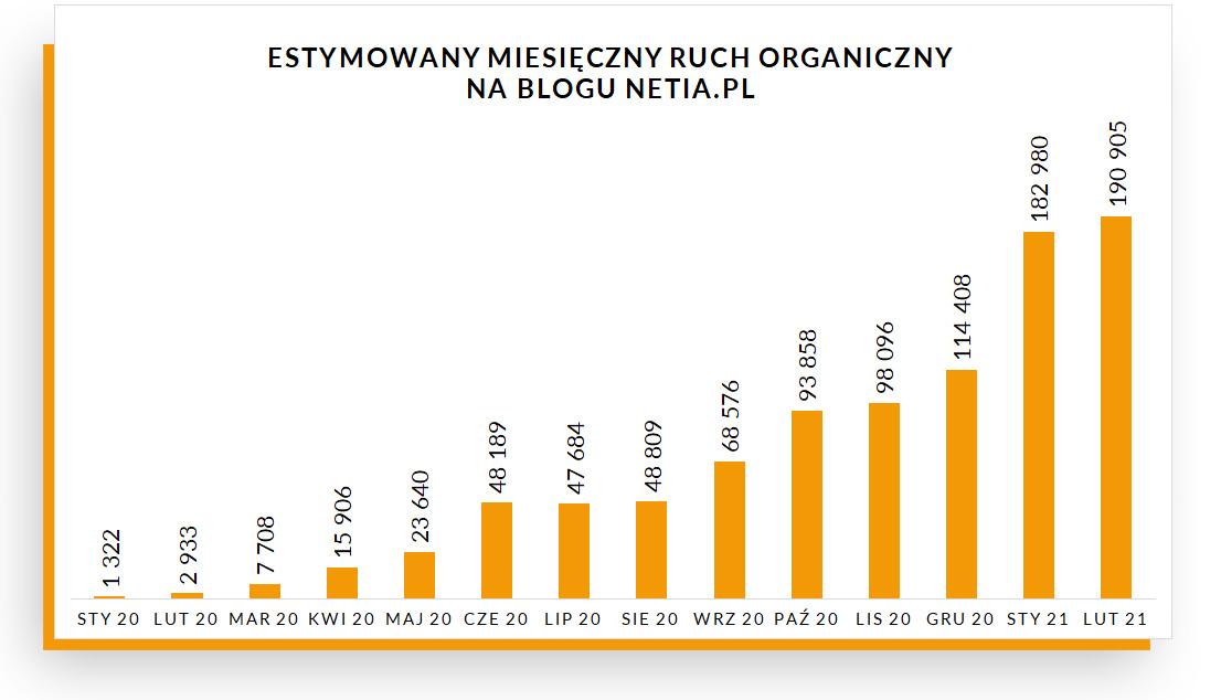 Estymowany ruch organiczny na blogu Netii – wykres
