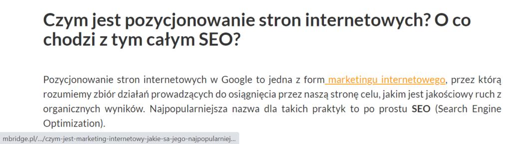 "Anchor ""marketing internetowy"" typu exact match"